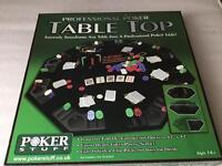 Home Casino - Table top poker, roulette wheel, chips and card shuffle machine