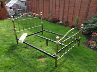 gold brushed steel double bed frame