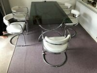 Retro Glass Dining Table and 6 chairs