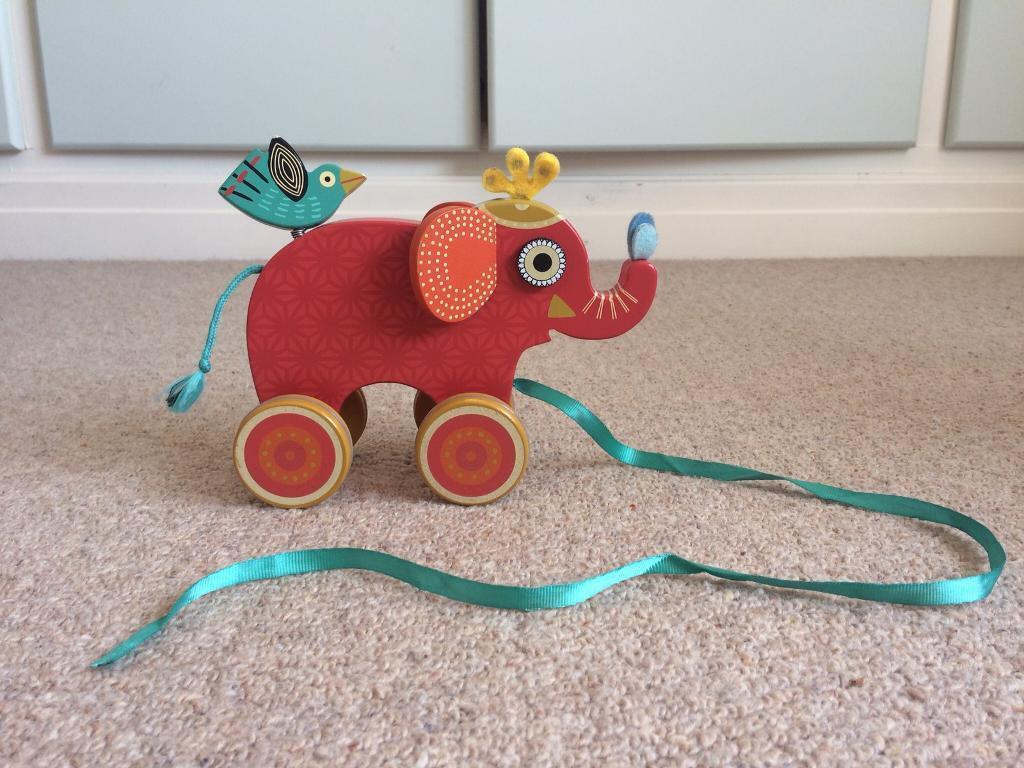 Wooden pull along elephant