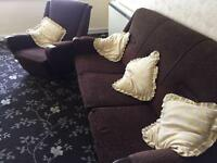 Brow fabric sofa and armchair.