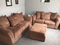 3 seater 2 seater settees and large footstool