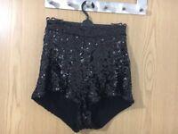 Black Topshop Sequin Shorts Size 12