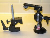 Suction cup and clamp camera or camcorder mount