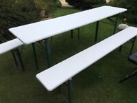 Painted folding table and bench set ......free local delivery