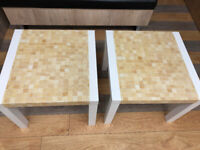 SET OF TWO - WHITE CREAM MOSAIC EFFECT COFFEE TABLES & LARGE SIDE TABLES - 55cm (L) x 55cm (D)