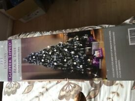 7ft luxury black glitter tipped Christmas tree With 200 multi function lights e