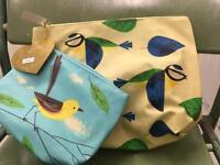 Make up & wash bag set with birds