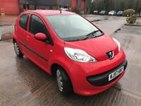 Peugeot 107 Urban 5DR 1.0 Petrol, Red, Manual Gearbox, Sept 2007, FSH, Very Low Mileage