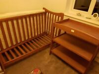 Cot and changing table with cot mattress. Solid Pine furniture in used condition