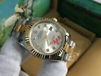 New Swiss Men's Rolex Oyster Datejust Perpetual Automatic Watch, Silver Dial two tone
