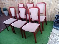 six solid rosewood dining chairs