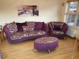 4 pc Purple and grey suite - 4 seater, large cuddler, chair and large pouffe