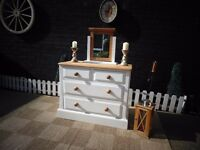 SOLID PINE FARMHOUSE DOVETAIL CHEST OF DRAWERS WITH DETACHED MIRROR PAINTED WITH LAURA ASHLEY