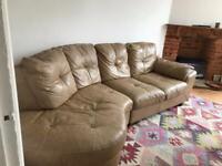 Tan Leather Corner Sofa- Free
