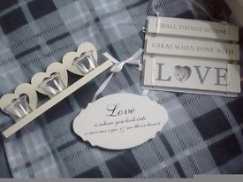 Heart candle holder, X2 wall plaques