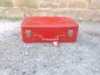 Vintage Retro Antique Bright Red Suitcase Cheney Luggage Trunk Storage Display Old Case