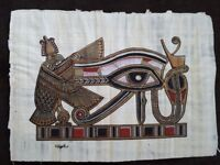 """Authentic Egyptian hand painting papyrus, """"The Protective Eye of Horus"""" (""""Eye of Ra"""")"""