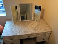 Chic white dressing table with mirror and stool!