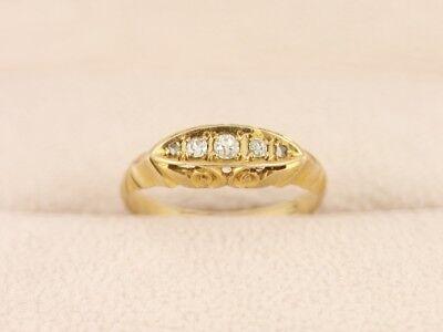 Diamond Five Stone Ring 18ct Gold Ladies Size N Vintage 750 2.7g Ct53