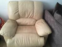 Beige leather settee with chair