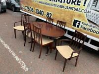 Mohagany rossmore extendable dining room table and6 chairs 2 carvers £95
