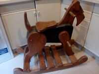 "Vintage unusual large rocking "" horse"" but is actually rocking dog all wood for garden or home"