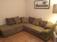 Lime green fabric corner sofa