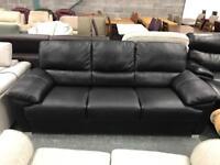 High retail 3 seater black leather sofa