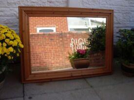 Large Antique Pine Mirror.