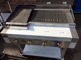 4 Burner Gas Charcoal Char Grill BBQ Self Standing - with Hotplate SS440HPG2