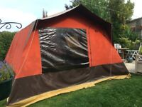 Used Canvas Frame Tent 4m x 4m with bedroom and curtains
