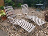 Pair of wooden sun loungers