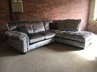 Crushed velvet corner sofa - Laurence Llewelyn Bowen- ex display - can deliver