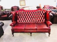 Stunning quality oxblood leather chesterfield Queen Anne 3 seater sofa UK delivery