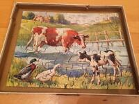 Vintage cows and ducks jigsaw