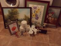 Job Lot 3 Large Pictures,Storage Jars.Silver Looking Candlearbra and Frames, Mugs