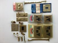 Collection of Georgian style brass fittings / light switches/door handles