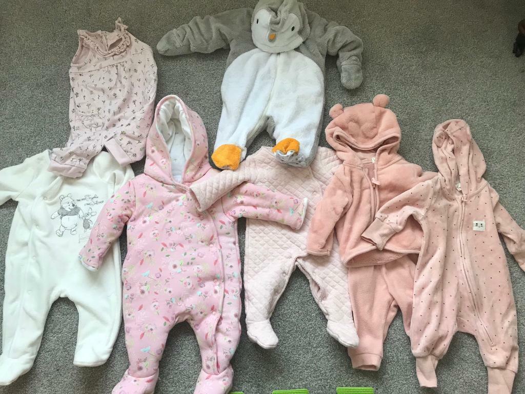 41d16176b 10-piece baby girl newborn pramsuit & sleepsuit bundle | in Timperley ...