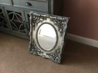Reproduction antique mirror, pewter/silver/black solid wood