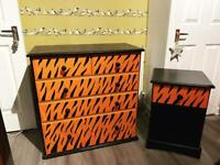 Tiger print chest of drawers and bedside table