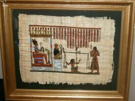 EGYPTIAN PAPYRUS FRAMED PICTURE Accepting Offers
