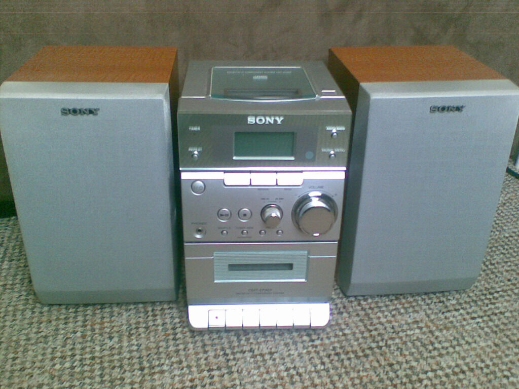 sony micro hi fi stereo cd cassette player and radio system with speakers in bath somerset. Black Bedroom Furniture Sets. Home Design Ideas