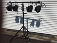 Four disco/stage/group lights on stand