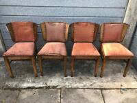 Antique Shield Back Dining Chairs with Studded Fabric, Original Sprung Cushions. Vintage Hardwood 4x