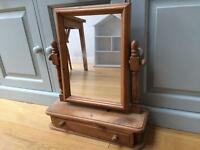 Pine mirror with drawer