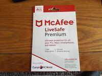 Mcafee livesafe premium anti virus . pc mac smartphone and tablet