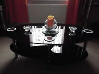 black glass set of tables & tv unit, vgc bargain price of only £70 or buy single item only