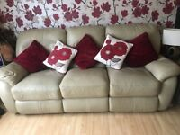 3 and 2 seater cream leather reclining sofas