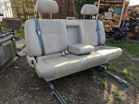 Large Camper Van Sliding Triple Bench 3 Seat VW T4 T5 Transit. Inc Shoulder Belts. Folds for bed.